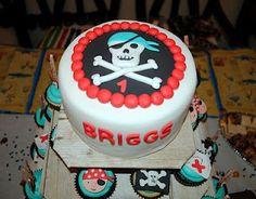 1st birthday pirate cake and cupcakes