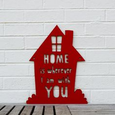 Home is Wherever I am with You (welcome home, wedding, anniversary) via Etsy.