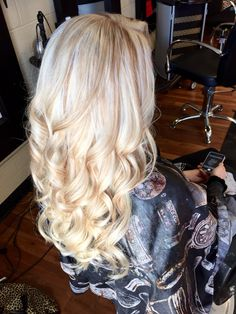 Platinum blonde with carmel blonde lowlights