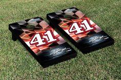Our NASCAR KURT BUSCH #41 CORNHOLE GAME SET RACING FLAG VERSION. Get your custom set at victorytailgate.com