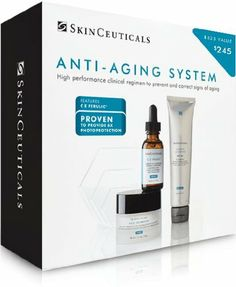 Skinceuticals Anti-aging System Kit The Skinceuticals anti aging system is proven to combat oxidative stress and UV damage, protect skin's structural proteins, and boost collagen synthesis to minimize the appearance of wrinkles, restore skin's luminosity, and redensify from within. C E ferulic 1 ounce.