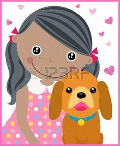 bambina con cane: bambina e il cane