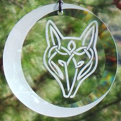"""Etched Celtic Wolf and Moon 4"""" Glass Ornament - Suncatcher, Wolf, Sun-""""Yep, still miss you. All day, everyday."""" catcher, Celtic Knot, Wolf Knot, Moon, Crescent moon, Wolf moon,"""