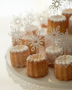 mini bundt cakes with snowflakes - made with punch and attached with toothpicks