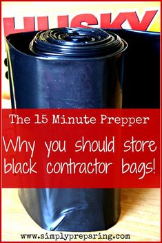 15 Minute Prepper: Black Contractor Bags – Simply Preparing Today we are talking about why you'll need black contractor bags an emergency as a 15 minute Prepper. Related posts:Messerrecht in DeutschlandHow to Build the. Survival Life Hacks, Survival Items, Survival Supplies, Emergency Supplies, Survival Food, Survival Prepping, Survival Skills, Wilderness Survival, Survival Shelter