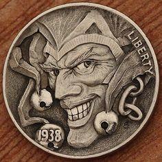 Hand engraving Art by master-engraver Aleksey Saburov. Custom Coins, Hobo Nickel, Coin Art, Metal Engraving, Engraving Ideas, Arte Horror, World Coins, Coin Jewelry, Rare Coins