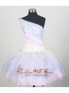 One Shoulder and Ruffled Layers For Colorful Little Girl Pageant Dresses With Beading  http://www.fashionos.com  http://www.facebook.com/quinceaneradress.fashionos.us  There's plenty to love about this stylish one-shoulder little girl short dress. Multi-colored organza accentated with ruched and beaded bodice in contouring lines. This look is completed with a layered skirt. The corset style bodice is finished with a lace up tie back.