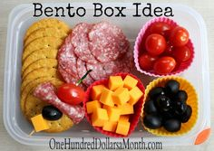 Bento Box Ideas – Salami, Olives, Cheese, Grape Tomatoes (Antipasto)