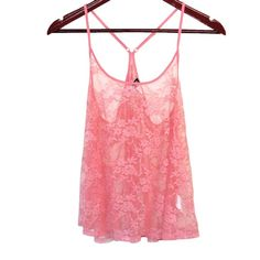 ✨HOST PICK✨ H&M - Dainty Lace - Tank Top Pink dainty lace with thin straps & razor back. Beautiful top & in perfect condition! *Reposhing* because I thought the color was a deep salmon when I bought it. ❌TRADES❌ Divided Tops Tank Tops
