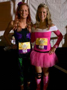 Disney Princess Half Marathon DIY Ariel and Sleeping Beauty/Princess Aurora costumes. Cheap and easy to make!! #disney #princess #rundisney
