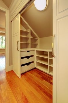 Closet idea for upstairs bonus room.  games & toys