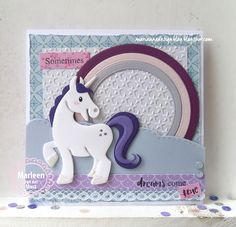 Handmade card by DT member Marleen with Collectables Eline's Horse & Unicorn (COL1408), Design Folder Extra - Little Stars (DF3427), Stitched Waves & Clouds (CR1361) and Basic Round (CR1331) from Marianne Design