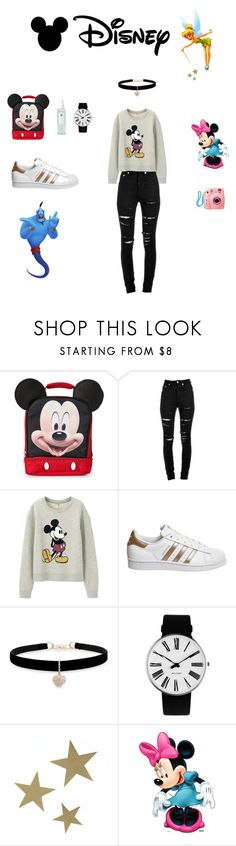 """disney"" by aredhel87 ❤ liked on Polyvore featuring Yves Saint Laurent, Uniqlo, adidas, Betsey Johnson, Rosendahl, VANINA, Disney, Linne and Fujifilm"