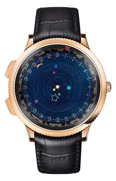 Van Cleef & Arpels Midnight Planetarium watch, which features Earth and the five planets visible to the naked eye, each represented by a semi-precious stone