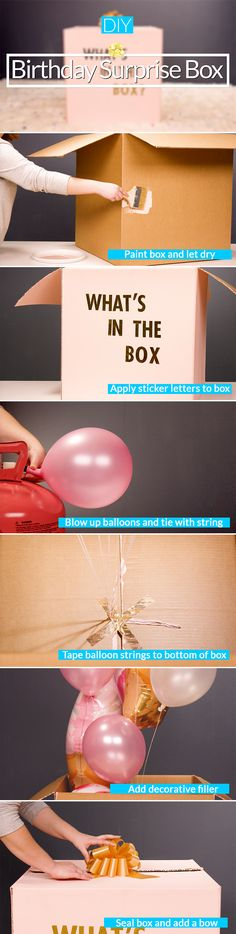 Planning a surprise party for the birthday boy or girl in your life? Make this extra-large birthday surprise box with a special surprise inside. Paint the box in the birthday boy or girl's favorite color (you can find a large box at any home improvement store) then use sticker letters to spell out a fun saying. Blow up some mylar balloons, stuff them inside the box (you can even add confetti, candy, toys or little treats if you want too), then wrap up the box with a big bow so it looks like…