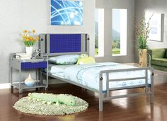 The Amarillo Silver and Dark Blue Full Metal Bed | Metal Full Size Bed
