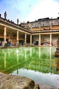 The Roman Baths in Bath, England Bath Uk, Indoor Pools, Roman Architecture, Historical Monuments, Ancient Ruins, Fortification, Towers, Temples, Art Direction
