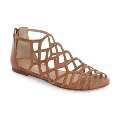 Women's Jslides 'Alex' Cage Sandal (1.670 ARS) ❤ liked on Polyvore featuring shoes, sandals, tan leather, tan shoes, real leather shoes, caged shoes, genuine leather shoes and tan leather shoes