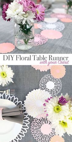 day decorations DIY Mother's Day Brunch Table Runner - 100 Directions Decorate your table with Cricut flower cutouts designed by Jen Goode. Perfect for pretty Mother's Day brunch decor. Diy Mother's Day Brunch, Brunch Decor, Brunch Table, Mothers Day Decor, Mothers Day Brunch, Diy Mothers Day Gifts, Diy Gifts Cheap, Easy Handmade Gifts, Amsterdam Trip