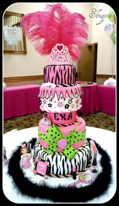 Zebra/Hot Pink Princess Cake.. By dailey on CakeCentral.com