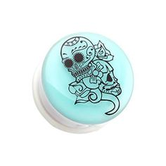 Day of The Dead Gypsy Hollow Back Single Flared WildKlass Ear Gauge Plug Sold as Pairs