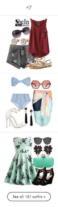 """#7"" by deedee-pekarik ❤ liked on Polyvore featuring WithChic, shorts, greyshorts, shein, Lisa Marie Fernandez, Prada, Lizzie Fortunato Jewels, Oscar de la Renta, Via Pinky and Ace"