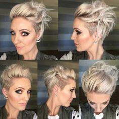 Hübsche Modische Kurzhaarfrisuren 2018 Penteados curtos na moda 2018 hairstyles Short Pixie Haircuts, Short Hair Cuts, Short Hair Styles, Pixie Cuts, Pixie Bob, Pixie Updo, Messy Pixie Haircut, Edgy Pixie, Pixie Undercut Hair