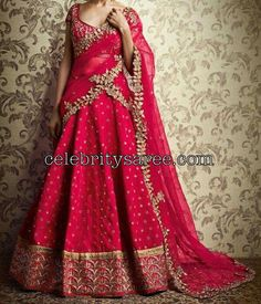 Red Mirror Work half Saree