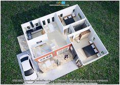 แบบแปลนบ้านชั้นเดียว ขนาด 2 ห้องนอน พื้นที่ใช้สอย 89.94 3d House Plans, Duplex House Plans, Bungalow House Plans, Two Bedroom House Design, One Storey House, Beautiful Small Homes, Garage Furniture, Modern Bungalow House, Simple House Design