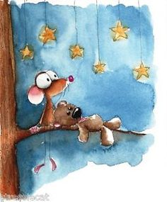Original Watercolor Painting Folk Art Whimsical Mouse Teddy Tree Star Gazing | eBay
