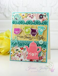 """Jeanne Jachna: A Kept Life – Tuesday Throwdown - Cream in My Coffee - (Waltzingmouse Stamps/Dies:"""" Coffee Time. Coffee Set, Coffee Cafe, General Crafts, Tag Design, Greeting Cards Handmade, Gift Tags, Tea Pots, Card Making, Paper Crafts"""