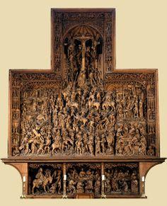 Arndt van Zwolle (- maître Arnt - actif de 1460 à 1491) et Ludwig Juppe Jupan (1460 – 1538), sculpteurs, Jan Joest (1450-1519), peintre : Grand retable de la Passion et détail du panneau central. 1492. Sculpture et tempera sur bois. Kalkar (Rhénanie du nord – Westphalie), église Saint-Nicolas.