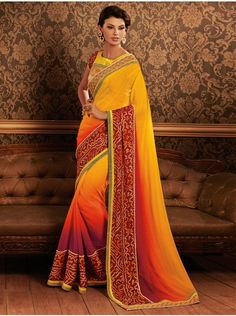Yellow Georgette Saree With Stone Work