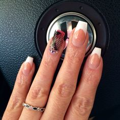 French tip nails coffin shape
