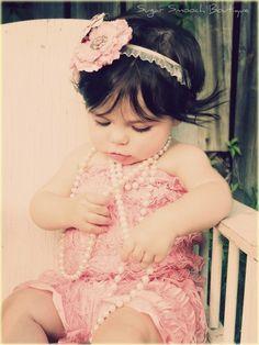 Infant Petti Romper in LIGHT PINK W/ Light Pink Flower by tiff705, $26.00