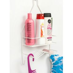 The Shower Caddy includes 2 hooks and slanted soap area. The Shower Caddy is plastic-coated metal.