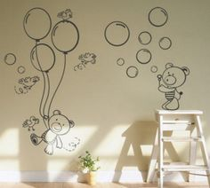 Choosing stickers as an accent on the wall is a matter of personal choice, but any bare wall can be revitalised by applying this charming Teddy Bear with balloons.. Once applied, stickers look as if they are painted right on the wall, more so when matt finish is chosen. No headaches with paints, no smell, no need to have the stable hand of an artist yourself. You have to only decide what image suits you most and to place an order at fuzzypi.com. It is that simple.