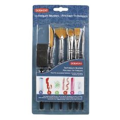 Derwent Technique Brush Set with 6 Assorted Brush Designs Art Supplies NEW! Painting Fur, Artist Painting, Fan Brush, Brush Set, Cleaning Buckets, Synthetic Brushes, Synthetic Hair, Art Supply Stores, Wrapping