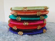 56 Ideas Bridal Look Make Up Bridesmaid Silk Thread Bangles Design, Silk Thread Necklace, Silk Bangles, Bridal Bangles, Thread Jewellery, Jewellery Diy, Bridal Jewelry, Beaded Jewelry Patterns, Handmade Jewelry Designs