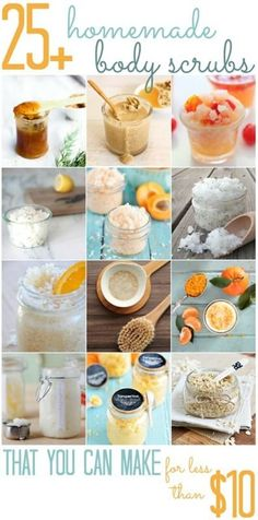 homemade Body Scrubs (All Cheap Crafts) Before you know it, the weather will be warm enough for shorts, sandals, and sundresses. Get your skin summer ready with some help from a homemade body. Diy Spa, Diy Beauté, Easy Diy, Diy Body Scrub, Diy Scrub, Homemade Scrub, Homemade Gifts, Homemade Body Scrubs, Diy Gifts