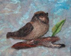 """Buy spring knitted beanie """"bird on branch"""". - figure, milk, felted bird"""