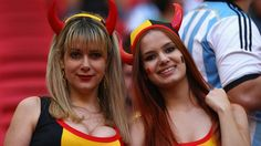 Belgium fans enjoy the atmosphere prior to the 2014 FIFA World Cup Brazil Quarter Final match between Argentina and Belgium