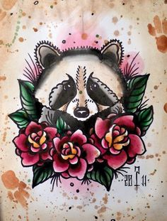 old school raccoon- REALLY LOVE this one. thinking something similar but with my add ons instead of the roses