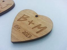 Custom Rustic Wedding Favors Wood Heart Style 2 Set by ronniemade, $50.00