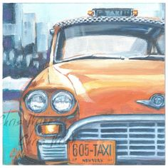 "Perfect Gifts, Original Paintings by Chris Wrinn, professional artist.  Classic Car Big, Yellow Taxi Checker Marathon cityscape on a 10x10"" Gallery Wrap Canvas with a depth of 1.5"". Perfect mens gift"