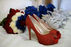 Bridal & Bridesmails bouquets and shoes, red white and blue roses, blue roses, red and silver shoes Blue Roses, Silver Shoes, Bouquets, Stiletto Heels, Photo Ideas, Red And White, Wedding Photos, Craft Ideas, Bridal