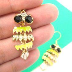 Small Owl Bird Feather Animal Dangle Earrings in Yellow and Green   atti - Jewelry on ArtFire