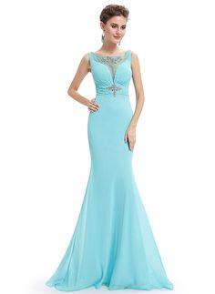 Chiffon Rhinestone Embellished Elegant Evening Dresses