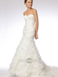 Trumpet Strapless Sweetheart Embroidered Lace and Tulle Over Silky Taffeta Wedding Dress