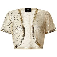 Ariella Vera sequin and beaded bolero (1.285 ARS) ❤ liked on Polyvore featuring outerwear, jackets, gold, women, beaded bolero, ariella, sequin bolero jacket, white bolero jacket and white bolero